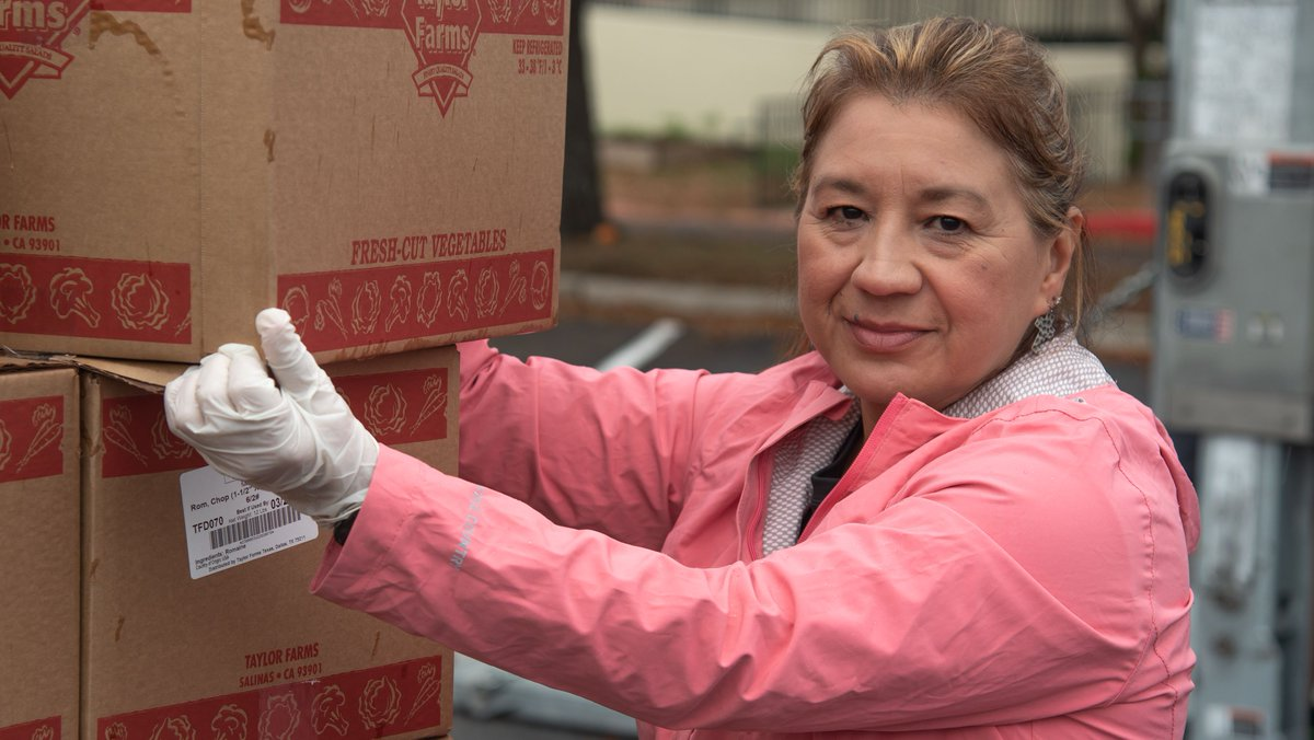 """This is a scary time for all of us. But, through everything, I see courage. I see strength. I see togetherness."" -Irene, volunteer  We're thankful for the tireless efforts of food banks, supporters, and volunteers who are ensuring people have food on the table right now. 🧡"