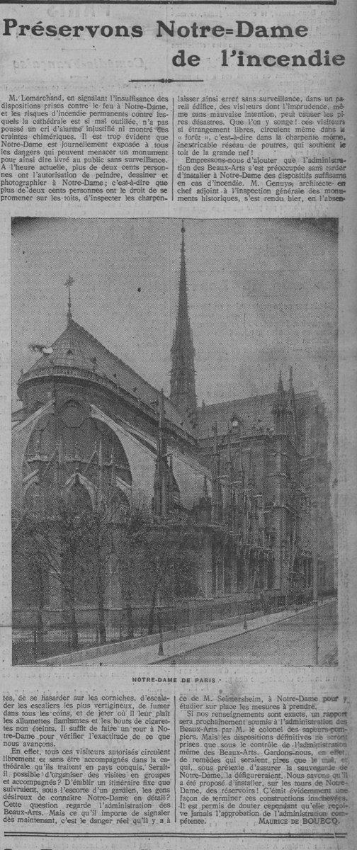 En 1911, on s'inquiétait du risque d'incendie à #NotreDame : « Que l'on y songe ! ces visiteurs si étrangement libres, circulent même dans la forêt, c-a-d dans la charpente même, inextricable réseau de poutres, qui soutient le toit de la grande nef !  » ☹️