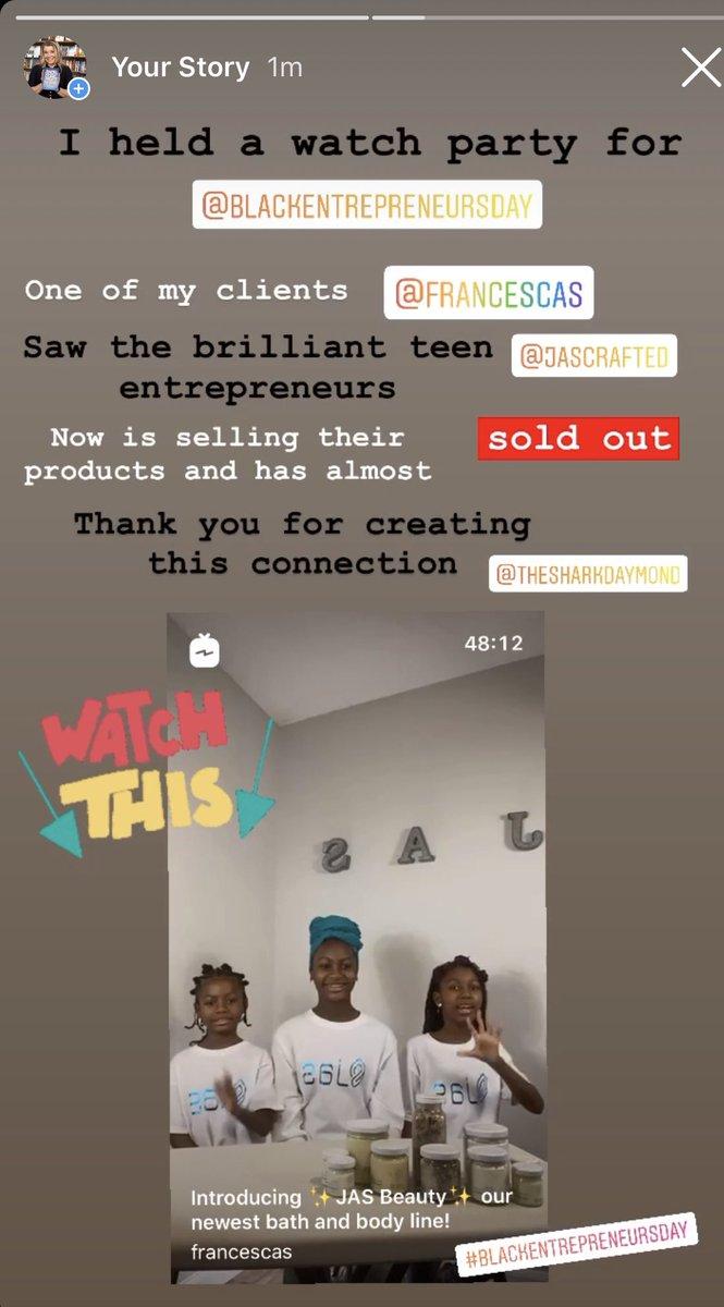 Teen entrepreneurs are the future of the world!  @jascrafted @francescas @TheSharkDaymond @BlackEntrepDay #blackentrepreneursday