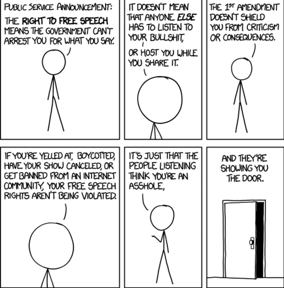 This is one of the best  summaries of free speech and 1st Amendment rights I have seen. Twitter kicked about 3000 extreme nut jobs off their platform in the last 24 hours, so in light of that, it's a little funny too. #TwitterCensorship #TwittersNextBan #TwitterPurge
