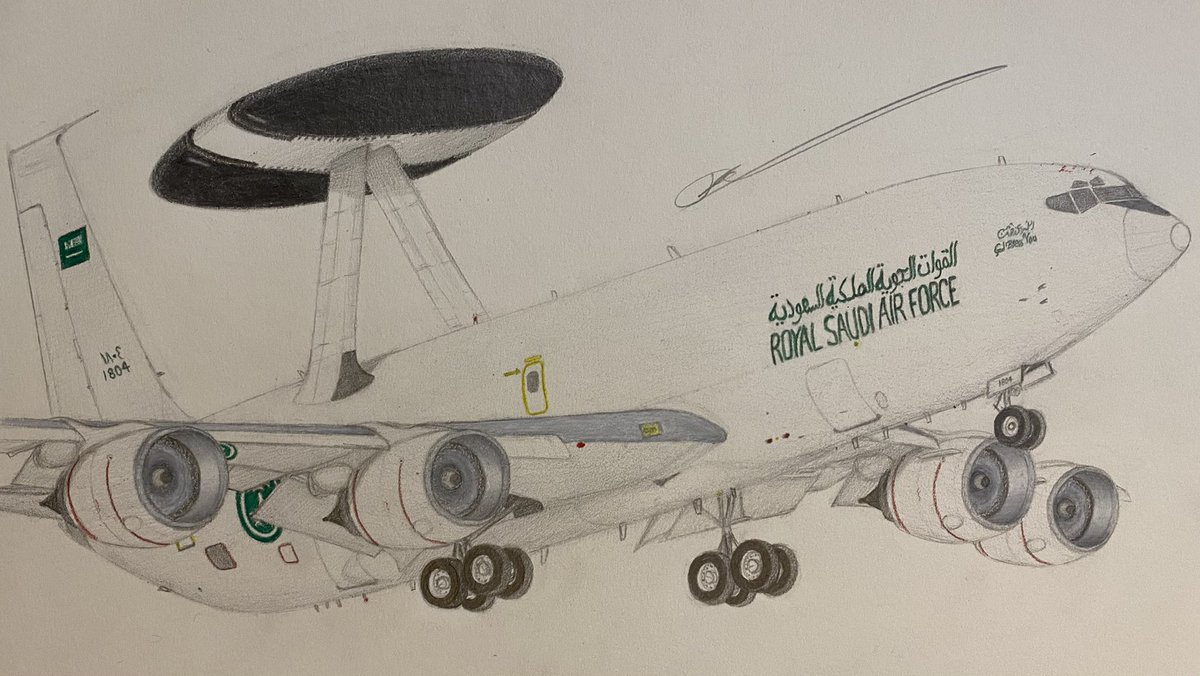 Not a usual post. My finished drawing of a Royal Saudi Air Force Boeing E-3A Sentry (1804), 01/09/2021. #avgeek #aviationart #art #drawing #aviation #boeing #awacs #artwork