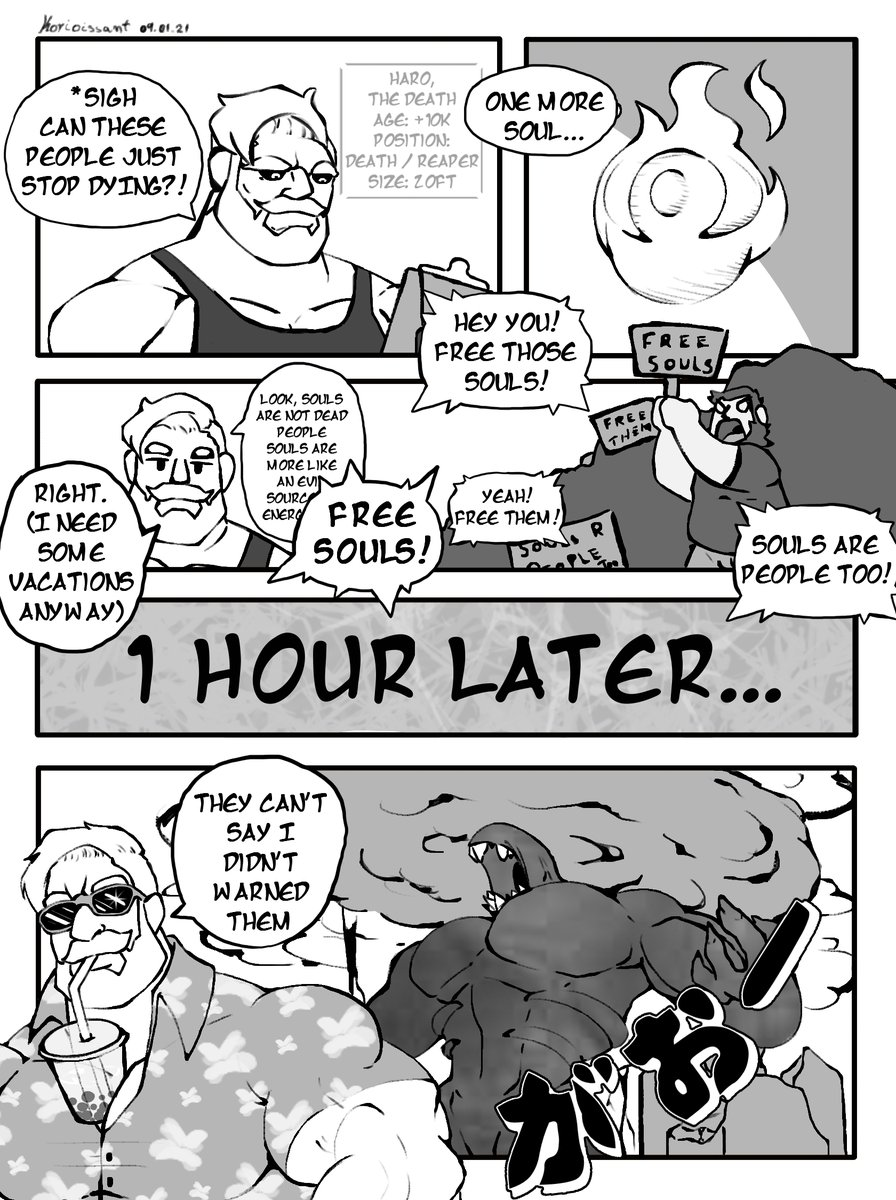 [Comic Strip] - Let Death Work (1/2) - Like I said in the concept of the Soul Croissants, soul are an powerful and evil source of energy that, with mixed correctly with any food, make people grow to giant size. fav me: deviantart.com/korioissant/ar…