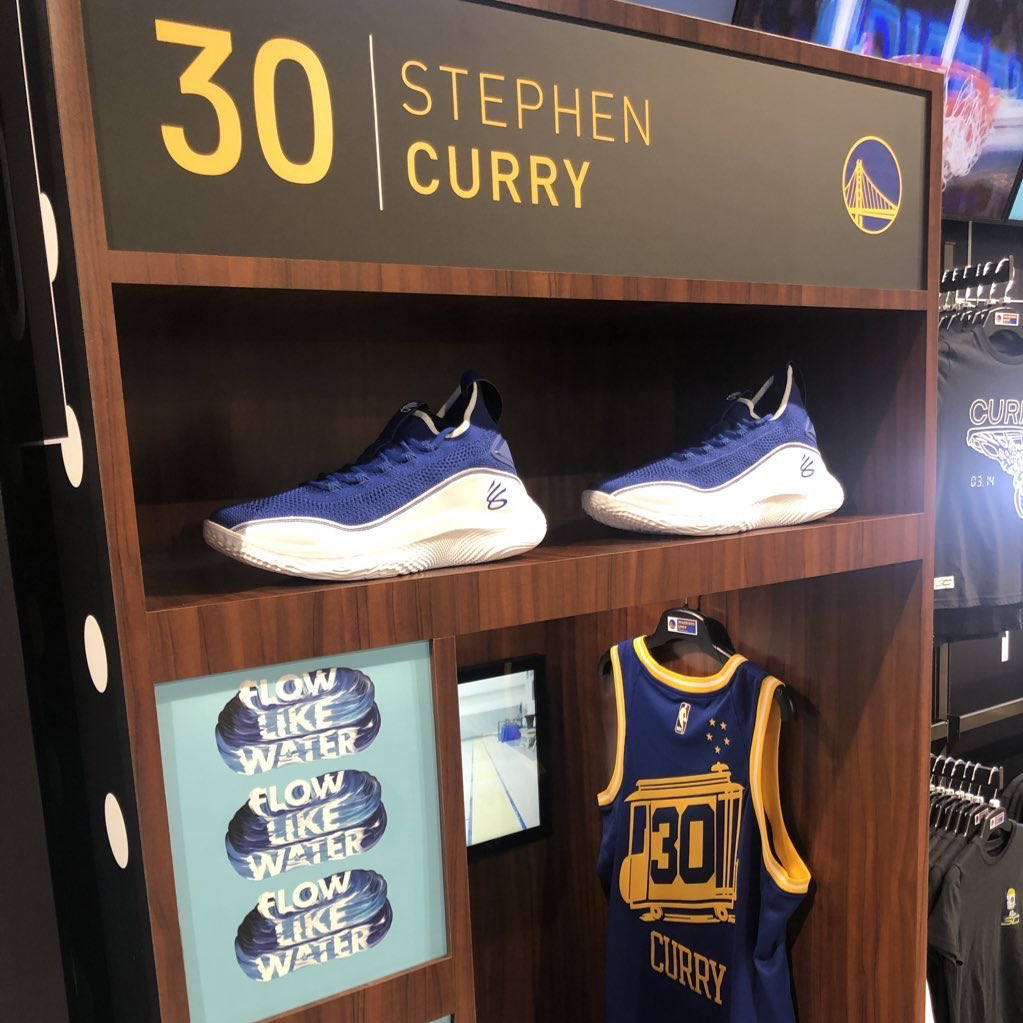 Newest addition now available at the @warriorsshop SC30 exclusive product wall: #Curry8 Flow Like Water  Only 62 pairs are available!  Social distancing and masks are required for in-store shopping. Adhere to all public health recommendations and stay home if you are sick.