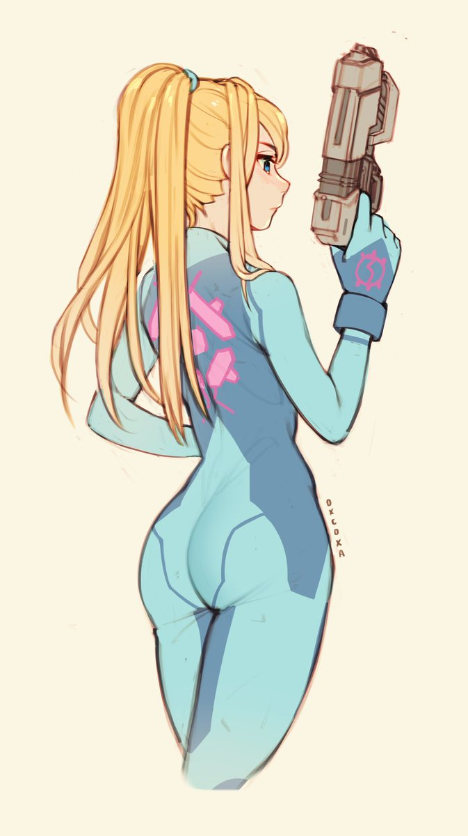 One more Zero Suit Samus sketch for the weekend 💙   I wanted to draw the back detail and went with this pose!   #Samus #Metroid