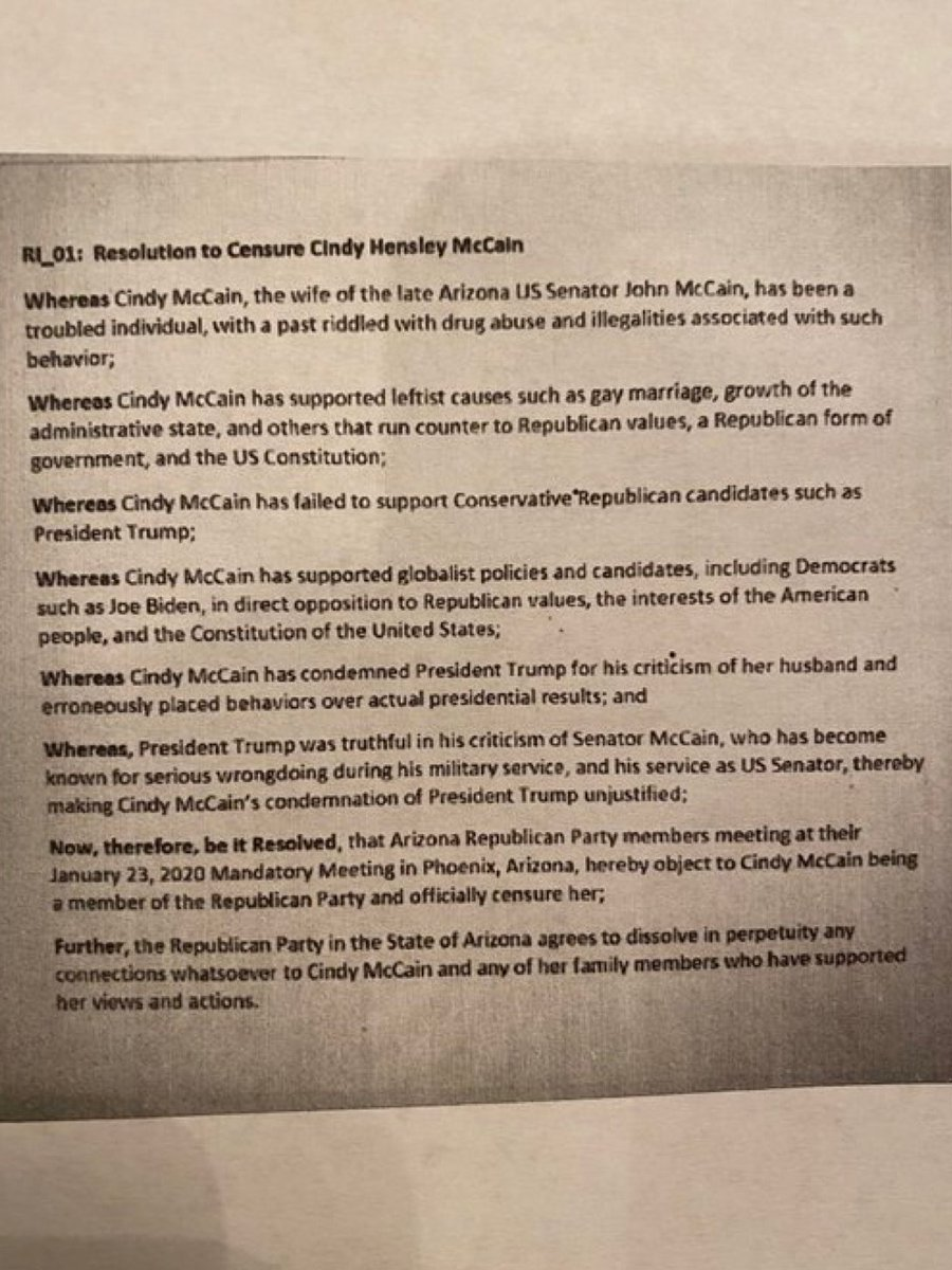 3. The resolution also says the Arizona GOP will dissolve in perpetuity any connection they have with the McCain family.   Intraparty stuff is not mine to litigate,  but the stuff about addiction, Senator McCain, and marriage equality is absolutely disgusting and craven stuff.