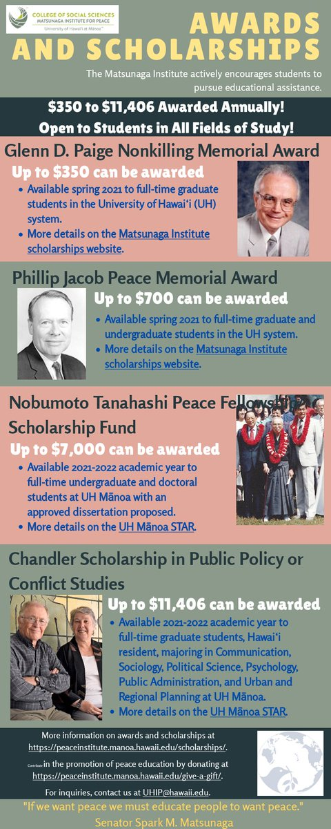 Image for the Tweet beginning: The Matsunaga Institute providesscholarships and