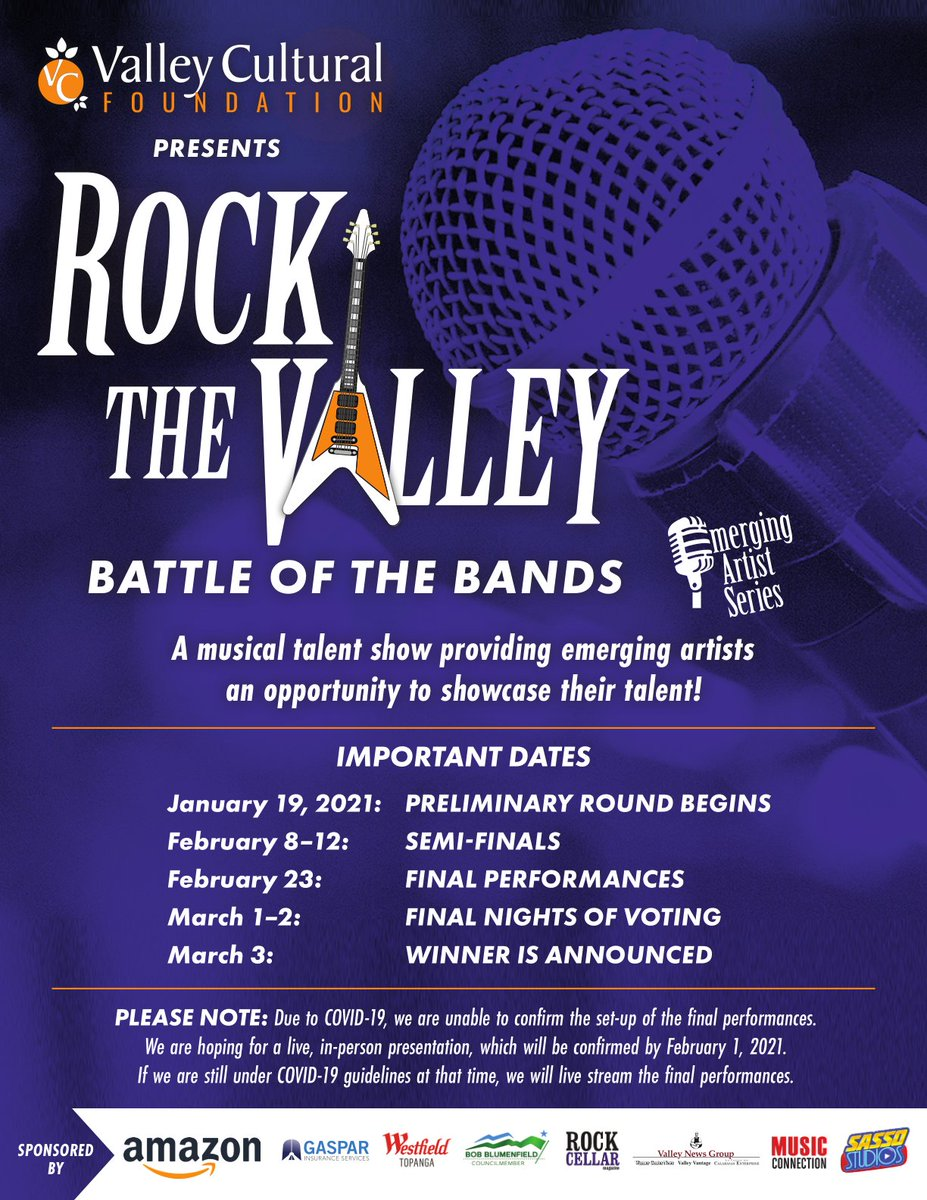 #RocktheValley is right around the corner! This is a #virtualevent & you can vote online at   #music #concert #LosAngeles #OnlineConcert #local #artists #nonprofit #LiveBand #NewMusic #LocalBand #UpAndComingArtist #EmergingArtist  #OnlineEvent
