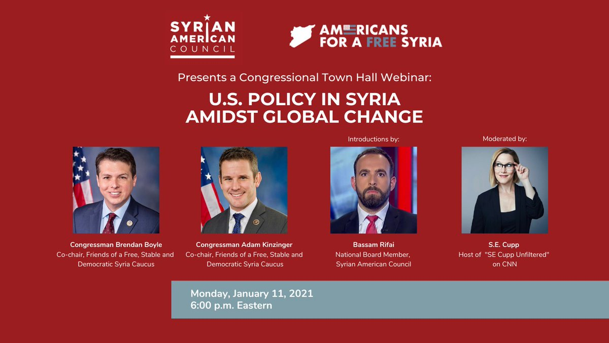 Join SAC and @AmFreeSyria for our first Town Hall of 2021, this Monday at 6 p.m. EST.  Renowned journalist @secupp will moderate a conversation with @RepBrendanBoyle and @RepKinzinger.  Please register in advance for this webinar: https://t.co/c9qKHR9TDk https://t.co/ztfRcdBRXZ