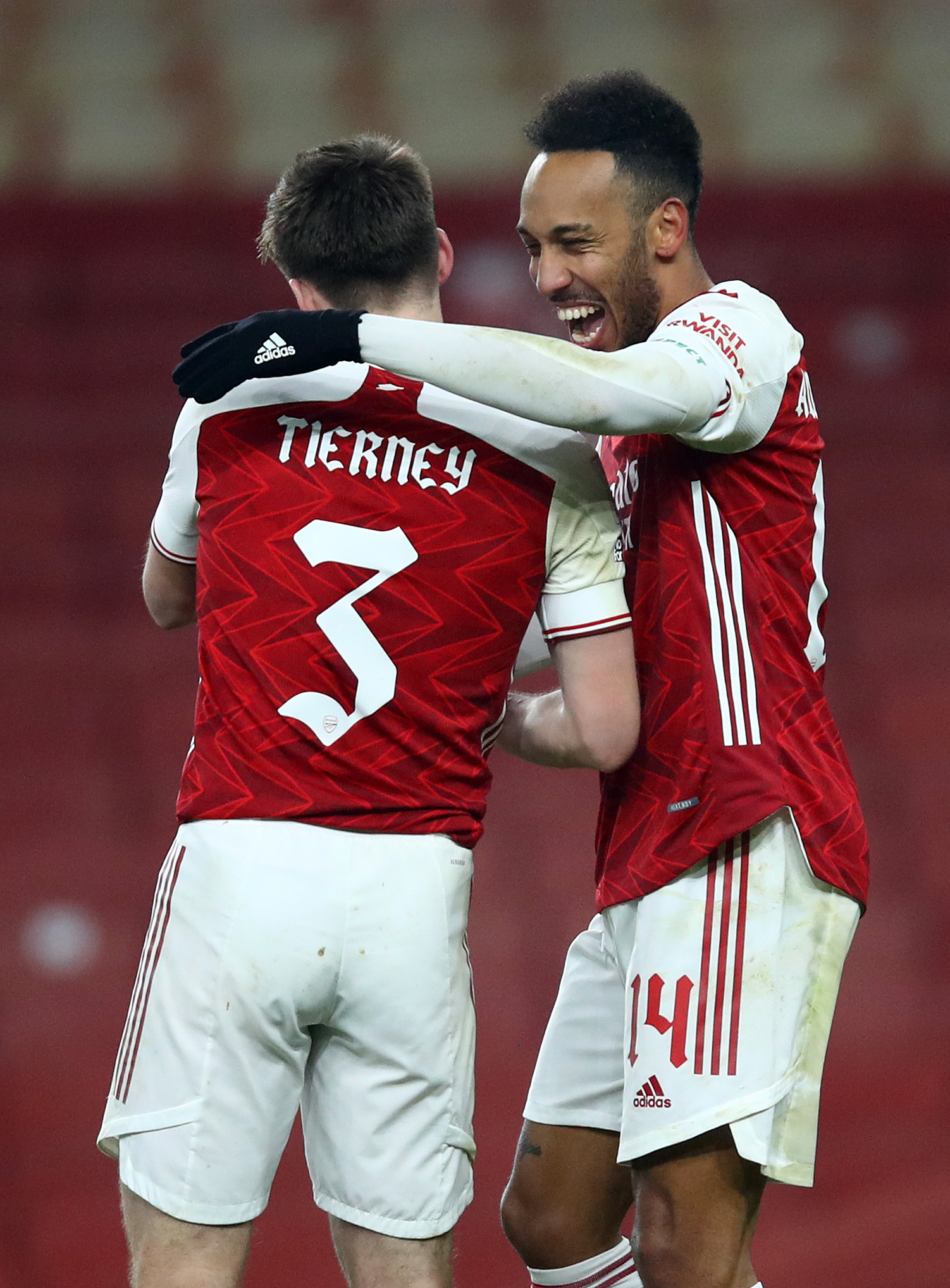 Pierre-Emerick Aubameyang celebrates with Kieran Tierney