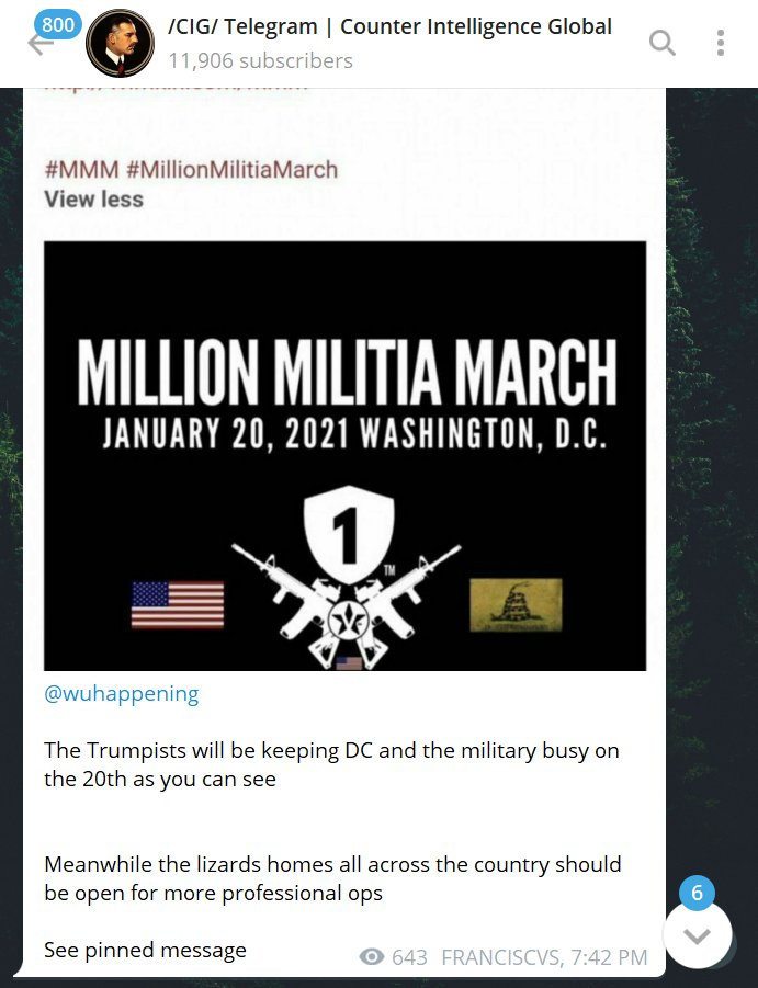 800 CIG/ Telegram | Counter Intelligence Global Q 11,906 subscribers #MMM #MillionMilitiaMarch View less MILLION MILITIA MARCH JANUARY 20, 2021 WASHINGTON, D.C. A @wuhappening The Trumpists will be keeping DC and the military busy on the 20th as you can see Meanwhile the lizards homes all across the country should be open for more professional ops See pinned message 643 FRANCISCVS, 7:42 PM 6