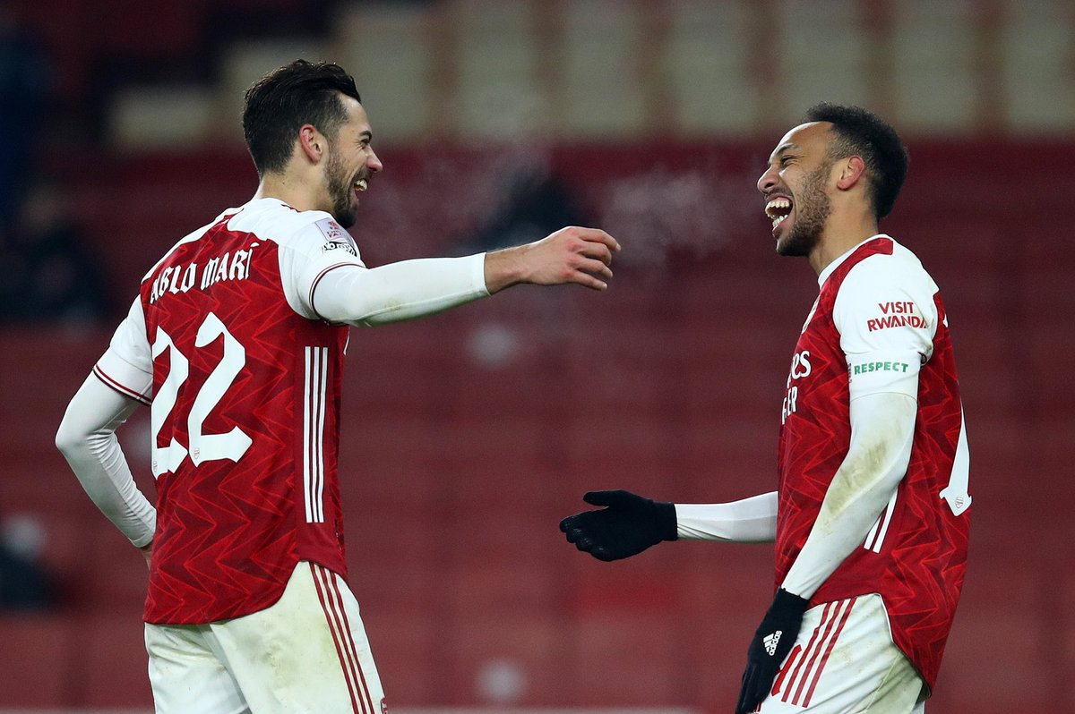 🇪🇸 Pablo Marí since returning to the Arsenal first team:   4️⃣ games 4️⃣ wins 3️⃣ clean sheets 1️⃣ goal conceded   What a come back. 💪 https://t.co/24rtaNmCsD