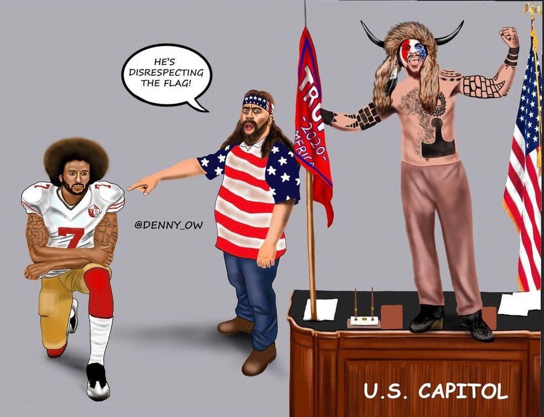 Replying to @BerniceKing: Patriotism Through Racism's Eyes  Artist: @denny_ow