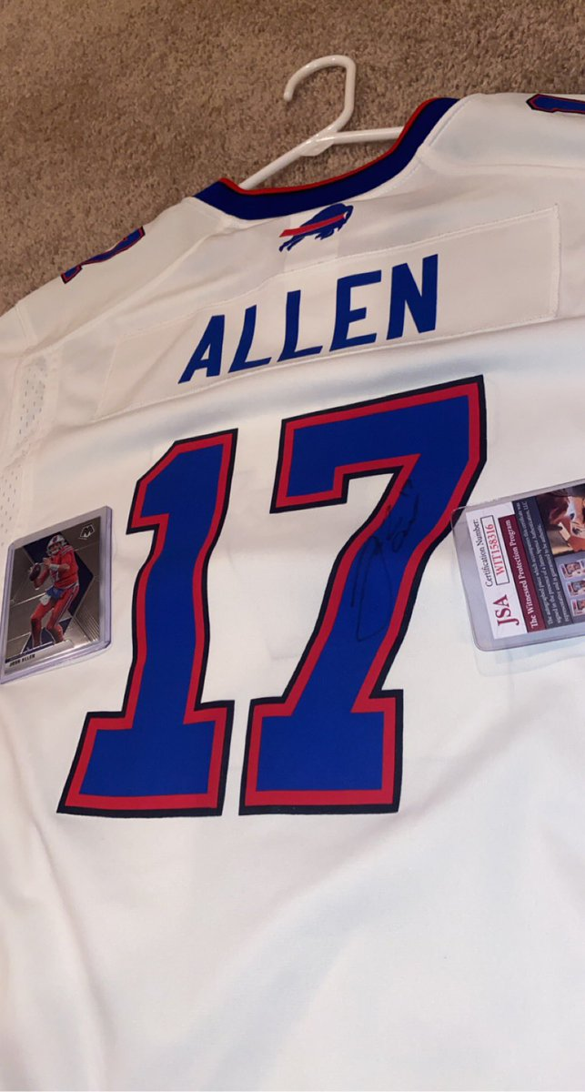 🚨 BILLS MAFIA 🚨  In honor of 1st playoff win in 25 years  CONTEST  Prize: Signed Josh Allen Jersey + 2020 Mosaic Allen card  Rules:  1. Must follow and retweet  2. We Must reach 6,700 followers  3. If it happens, winner chosen by random on Thurs at noon  Follow, and RT to enter