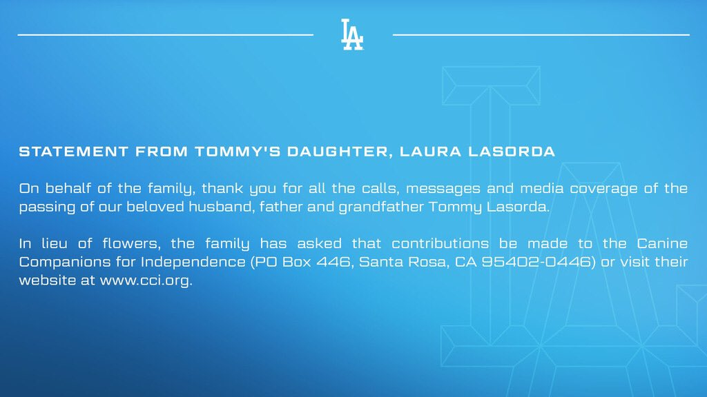 Statement from Tommy's daughter, Laura Lasorda: