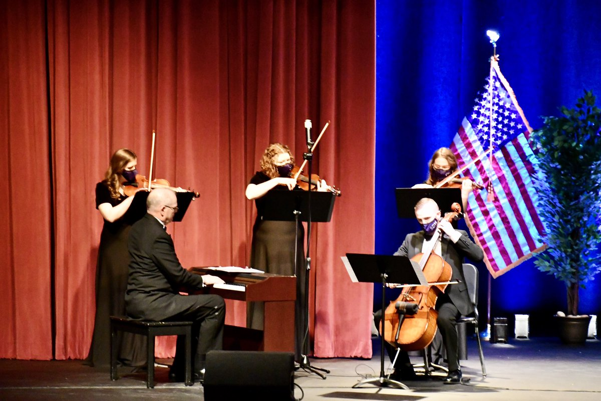 "Dr. Sarah Howes & the @SBUniv String Quartet and Pianist performing ""Be Thou My Vision."""