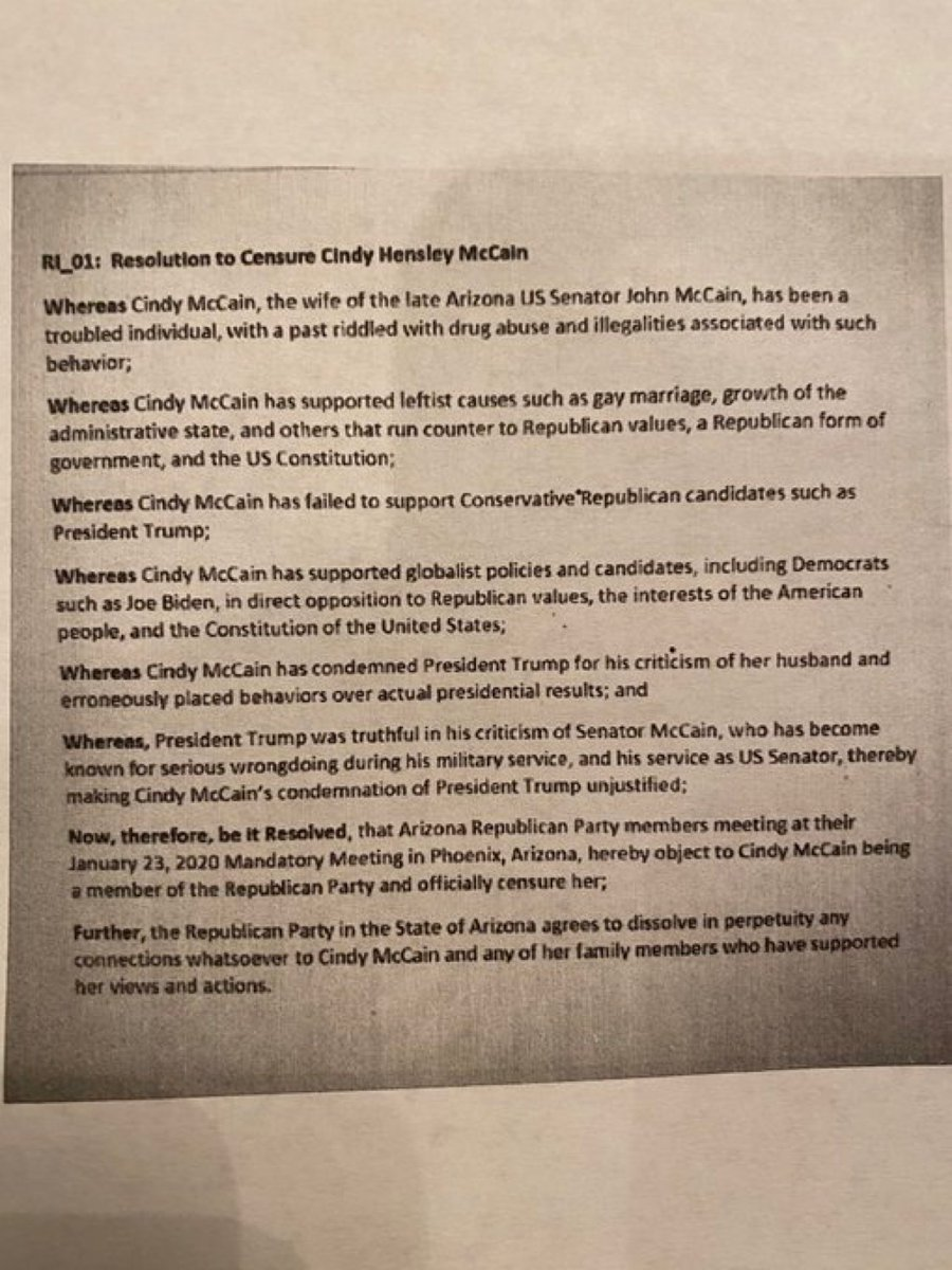 1. This proposed resolution to censure @cindymccain which will be voted on by the Arizona Republican Party later this month is absolutely disgusting.   McCain has been very public about being in recovery and they go after drug abuse?!  (they get the year wrong in the resolution).