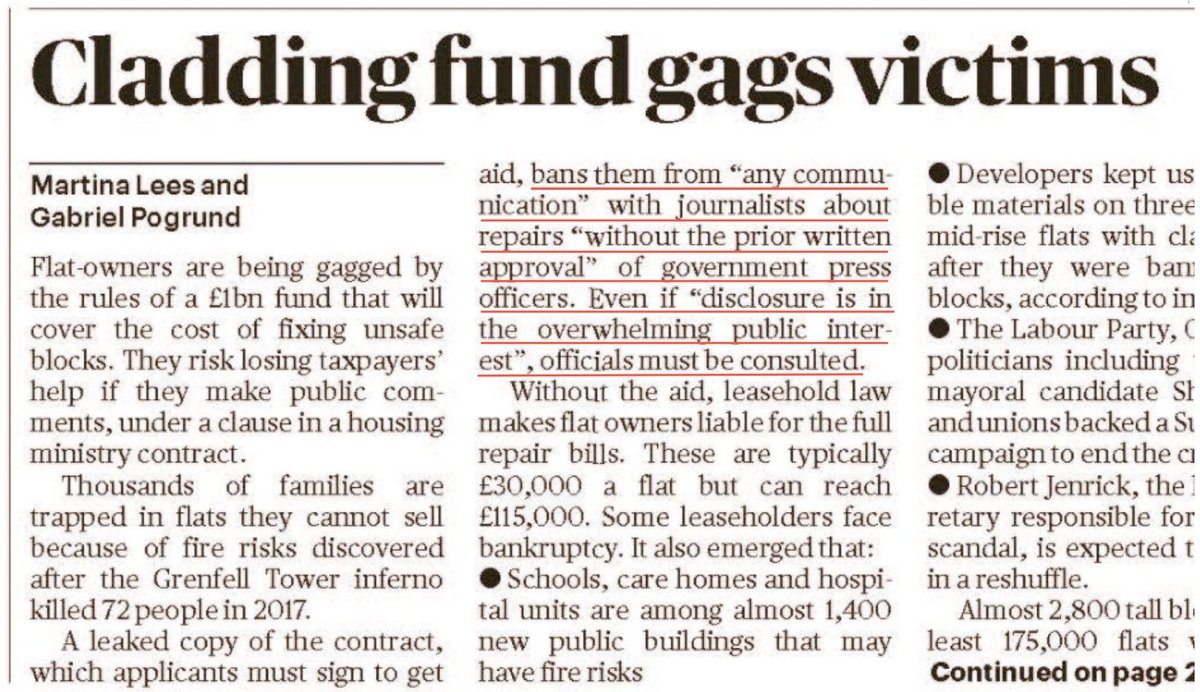 """(BREAKING): @thesundaytimes exposes the #BuildingSafetyFund gagging clauses.   Innocent Leaseholders will lose the public funding if they go to #press even if the """"disclosure is in the overwhelming public interest""""  @PhilH23  @gtomlin  @GrenfellUnited  #EndOurCladdingScandal"""
