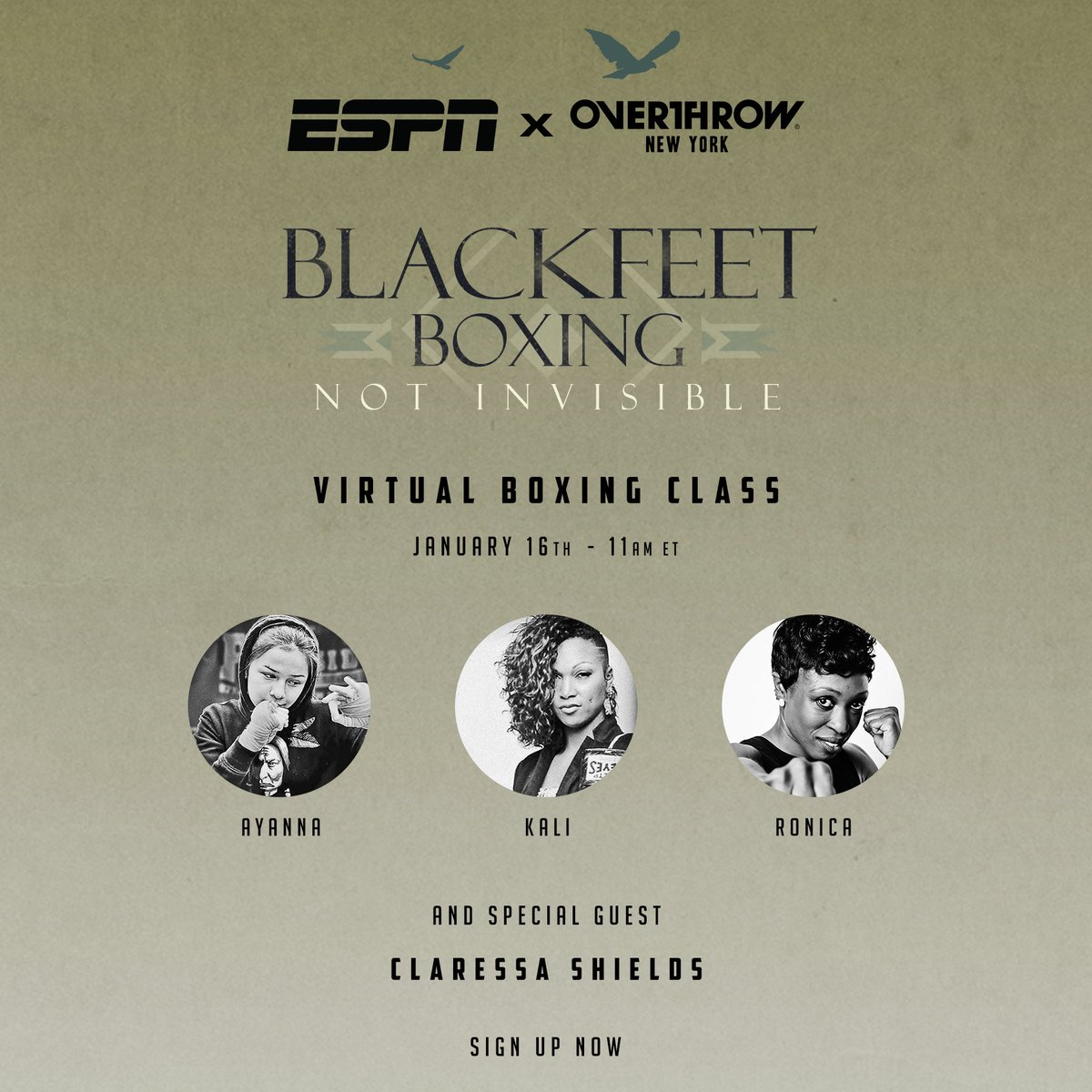 Join in with @ESPN and Overthrow New York 🥊  Sign up for a free virtual boxing class, inspired by the ESPN Film Blackfeet Boxing, to help raise awareness of the epidemic of #MMIW.   [ LINK: https://t.co/CHjM6YPf0o ] https://t.co/VZFJKPqZkF