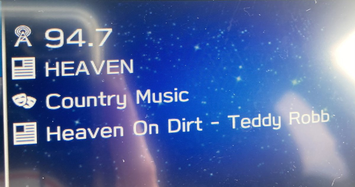 I heard this song on the radio on @NYCountry947 ! heaven on dirt by @TeddyRobb, I had to sit in my  car  finish listening to it, beautiful song