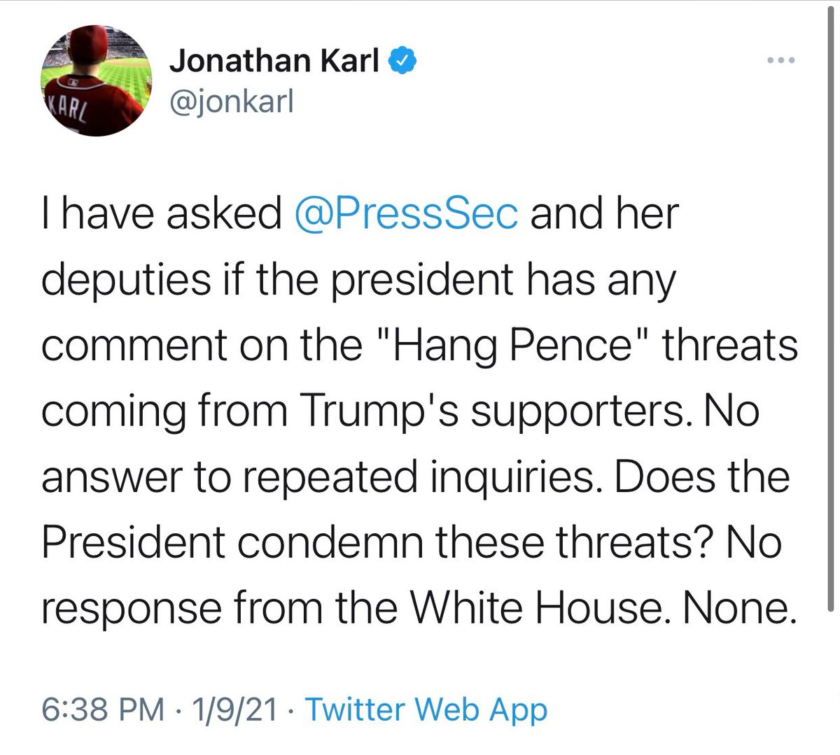 The White House sent @jonkarl a response condemning all violence at 5:55pm, yet he irresponsibly tweeted at 6:38pm that we did not respond.  Jon, check your inbox before you tweet. ⬇️