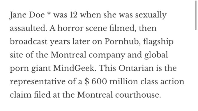 2 pic. Facts of the case:  12 yr old rape victim had her crime scene monetized on Pornhub.  She found