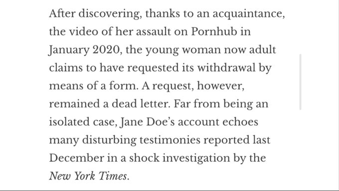 3 pic. Facts of the case:  12 yr old rape victim had her crime scene monetized on Pornhub.  She found