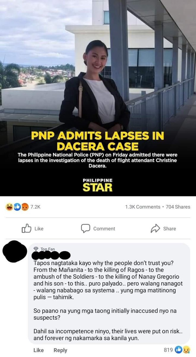 Replying to @wanggo_g: Just the Dacera case? The comment at the bottom is so spot on