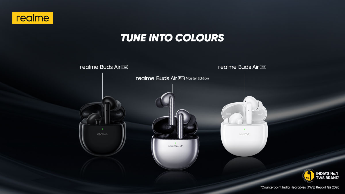 Variants of the #realmeBudsAirPro  👉Matte Black 👉Soul White 👉New Wave Silver
