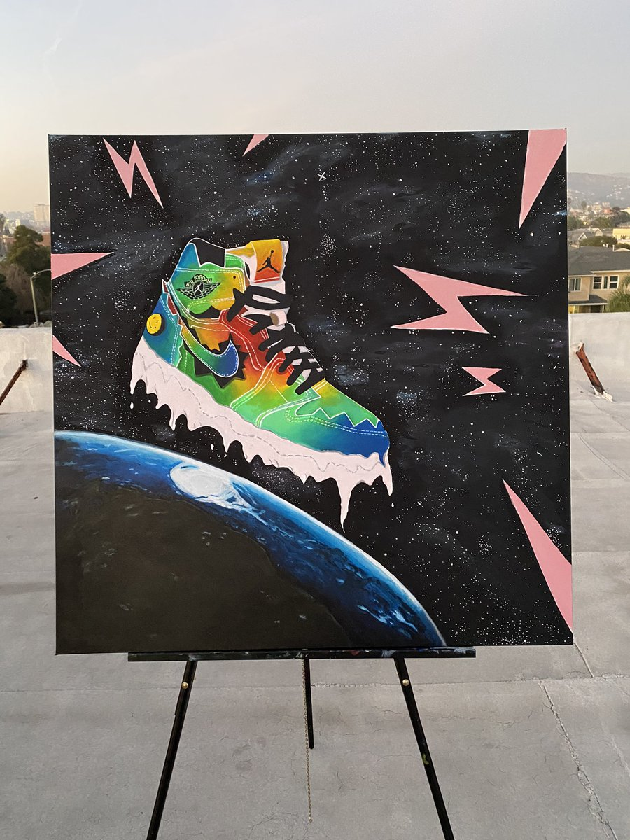 """36x36 Acrylic on Canvas Painting.  """"Derrame Colorrizo""""   Salute and Respect to the man @jbalvin  for this Amazing collab with @jumpman23. This sneaker is iconic 🙏🏽. https://t.co/h8KcKtDMUI"""