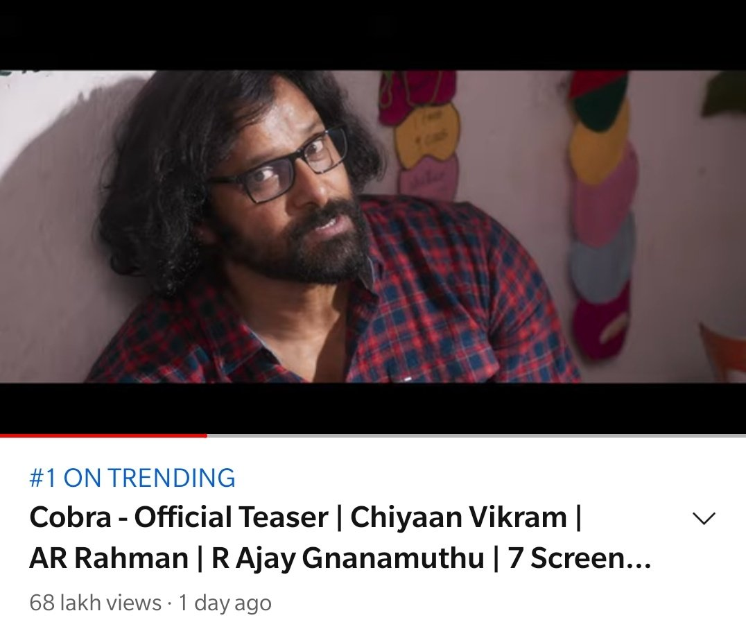 TRENDING AT 1️⃣ with over 7️⃣ MILLION VIEWS! 🔥  The number game really strong! 😎  ➡️   #ChiyaanVikram @AjayGnanamuthu @arrahman @Lalit_SevenScr @7screenstudio @SrinidhiShetty7 @IrfanPathan   #CobraTeaser #Cobra
