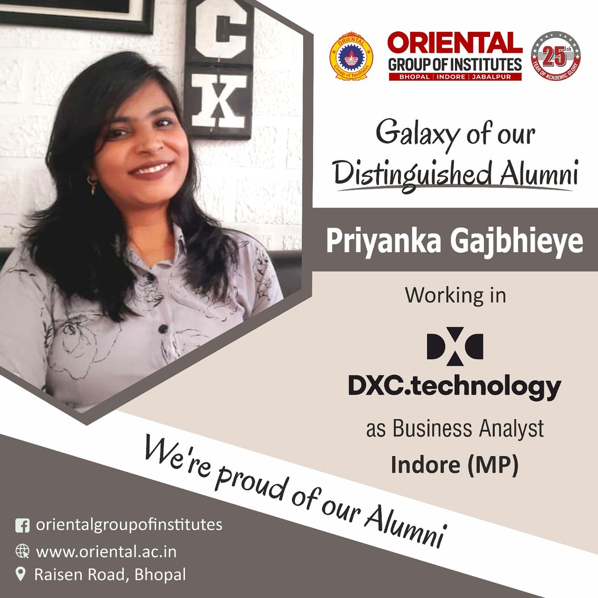 You made us feel #Proud!!! Priyanka Gajbhiye an #alumnus of #OGI working in #DXC technology as #Business #Analyst https://t.co/V9ZpPYnvoG