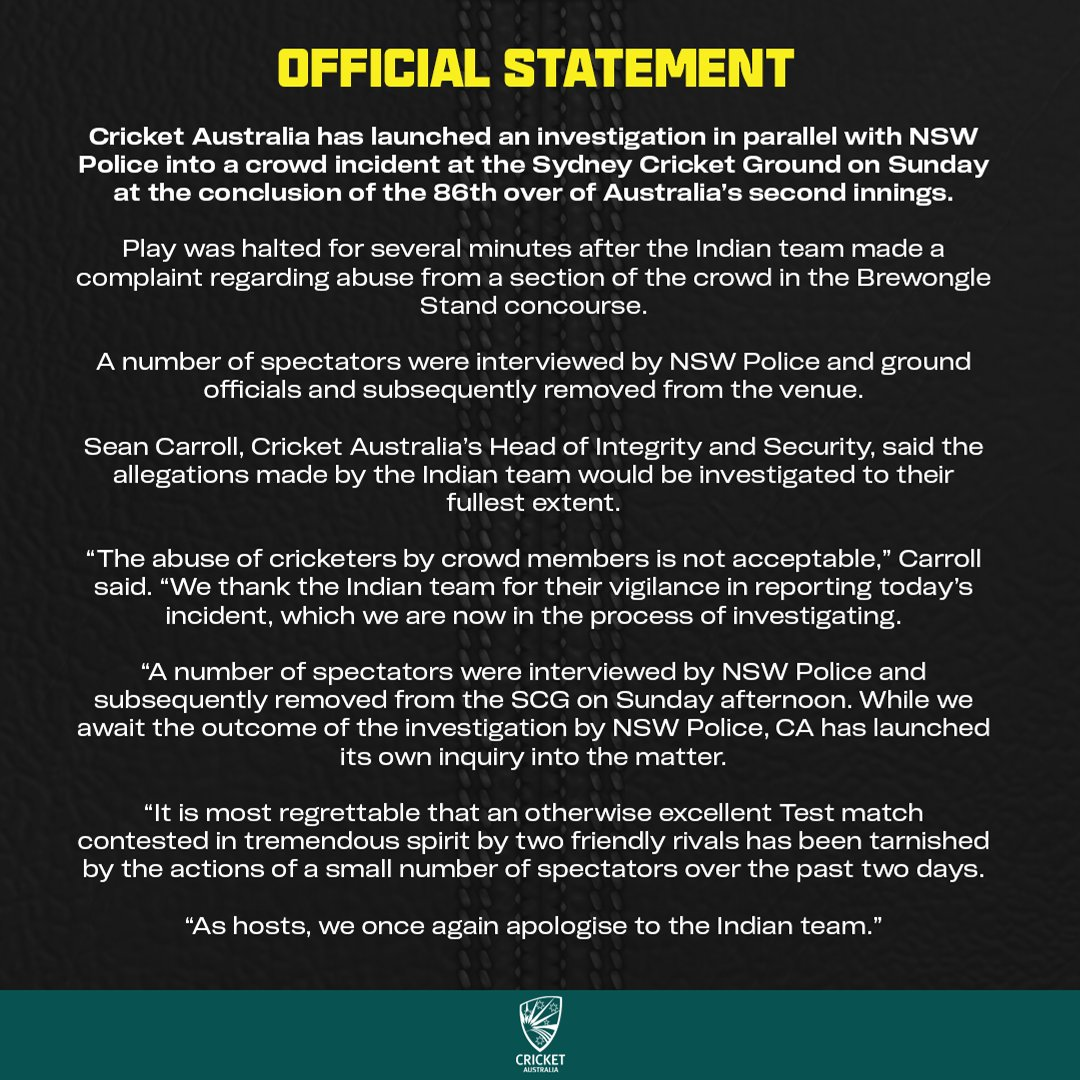 We have launched an investigation in parallel with NSW Police following a crowd incident at the SCG today. Full statement 👇
