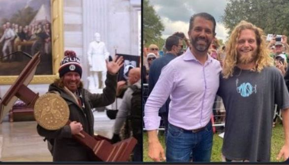Don Jr w Adam Johnson, the man who carried off the Speaker's podium during the riot in the Capitol....