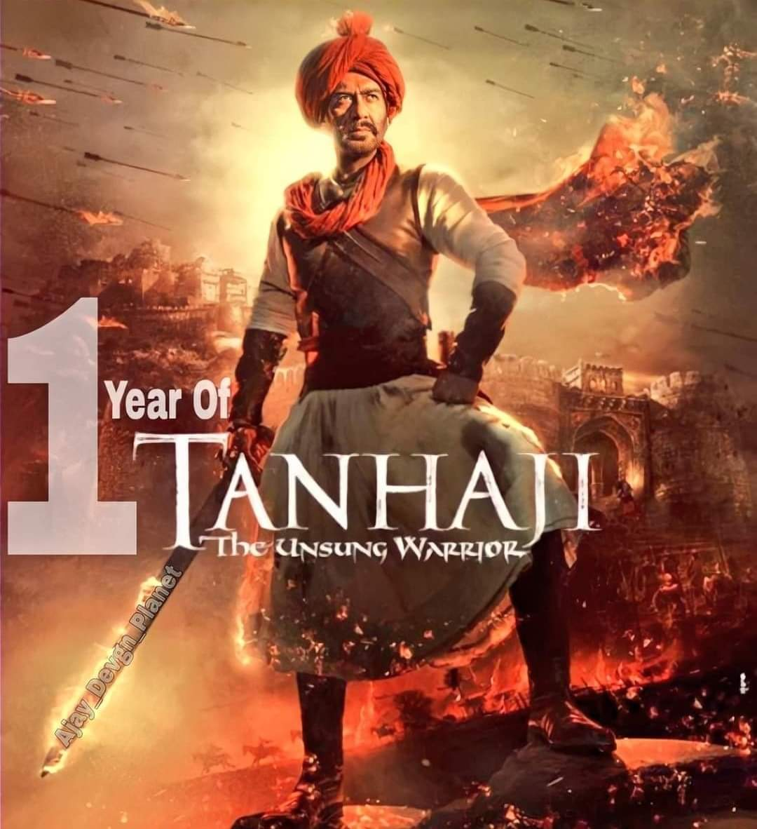 Celebrating 1 YEAR OF HISTORIC TANHAJI. Another powerful and iconic performance by the versatile superstar Ajay Devgn. @ajaydevgn