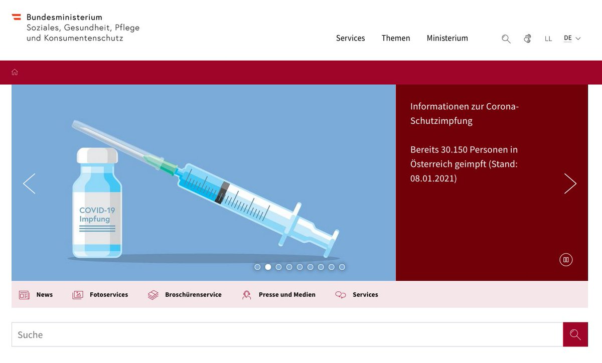 Odd situation for the Austrian vaccination data: we have a number of people on the homepage of @bmsgpk but nothing once you click on the link (https://t.co/ClgzqGOPdv). We'll include that new total of 30,150 doses administered on January 8 with this tweet as a reference. https://t.co/LzuvnnpCyQ