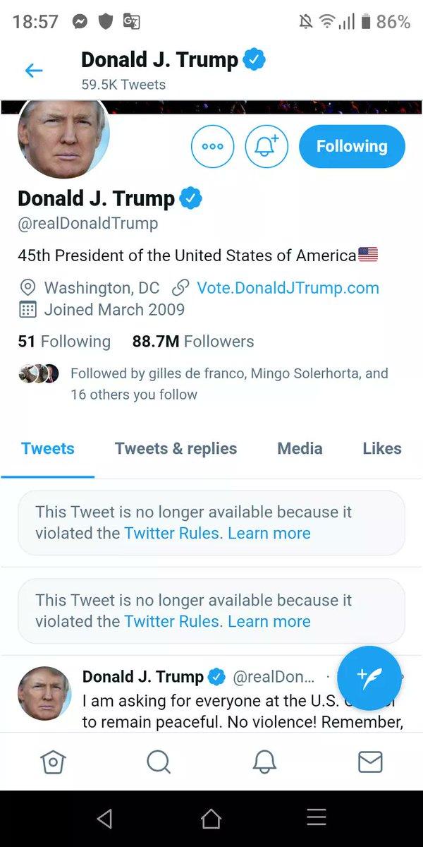 i took screenshot Pr Trump before tweet deleted his acccount.    F...Tweet how abouy 88.7 M follow him ????
