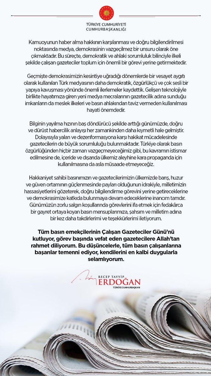Cumhurbaşkanı @RTErdogan'ın, 10 Ocak Çalışan Gazeteciler Günü mesajı