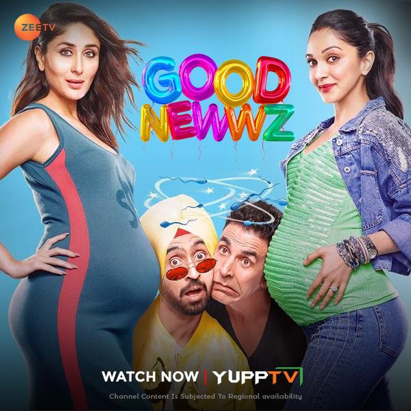 Watch #Bollywood superhit dramedy #GoodNewwz *ing @akshaykumar #KareenaKapoor @diljitdosanjh & @advani_kiara on catch-up of @ZeeTVAPAC @  / @ZeeTVME @  #YuppTVAPAC #YuppTVMidEast *Channel content is subjected to regional availability.