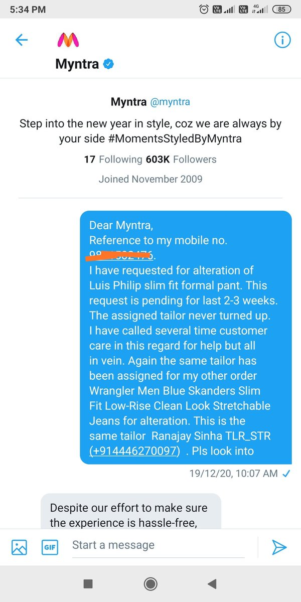 Dear @myntra today @MyntraSupport told I have never raised any alterations request for formal trouser. thanks a ton for saying a lie after almost one and half months. #myntraitors #myntraendofreasonsale #myntracustomerfriendly #myntraliars
