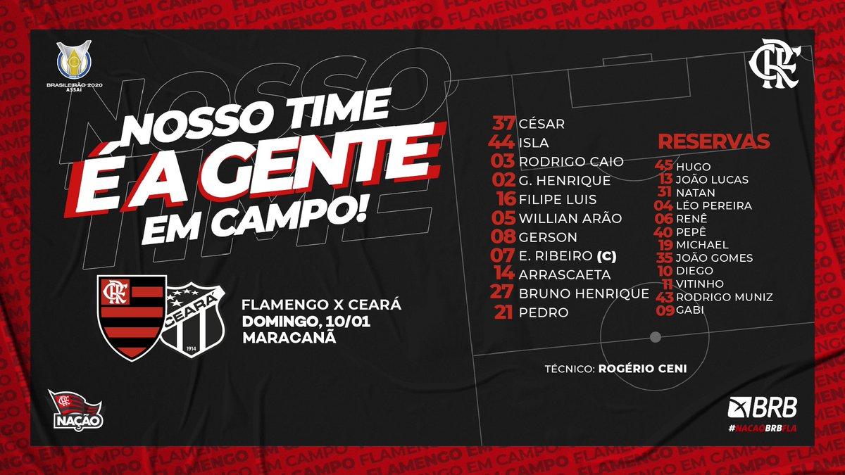 Nosso Time é a Gente em Campo! O Mengão está escalado para enfrentar o Ceará, no Maraca, pelo Brasileirão! Pra cima deles! #FLAxCEA #VamosFlamengo https://t.co/cAIXs3KGUp
