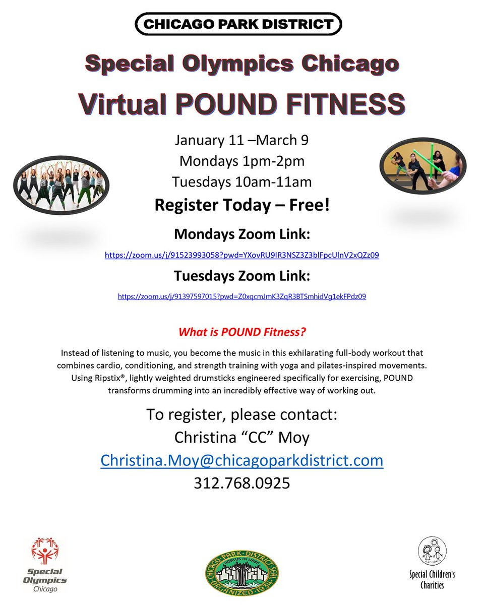 Chicago Park District's Virtual POUND Fitness class starts Monday! Sign up today so you don't miss out! https://t.co/2JKLbZxg2H https://t.co/lPxnBBoYeG