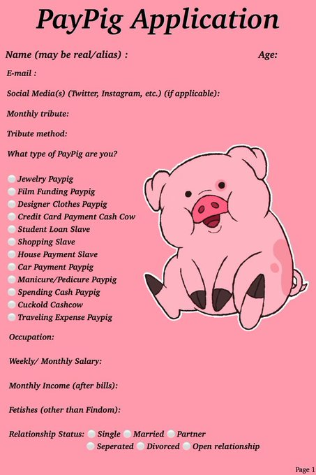 Fill it out and see if you have what it takes to be my Paypig ✨✨✨✨✨ findom cashslaves cashpig ncfindom