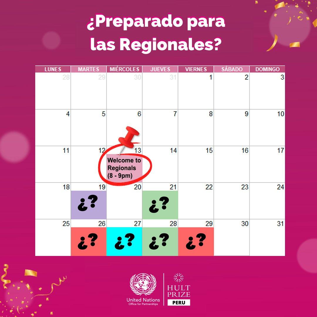¿Preparado para las #Regionales? 🤩 Separa estas fechas en tu calendario 👉📆 y comienza el 2021 aprendiendo a emprender 🚀  🏁 Welcome to Regionals: 13 de enero (8 a 9pm)  Y tú ¿Cómo te estas preparando?  #SaveTheDay #pitch #changetheworld #FoodForGood #HultPrizePe #HP21