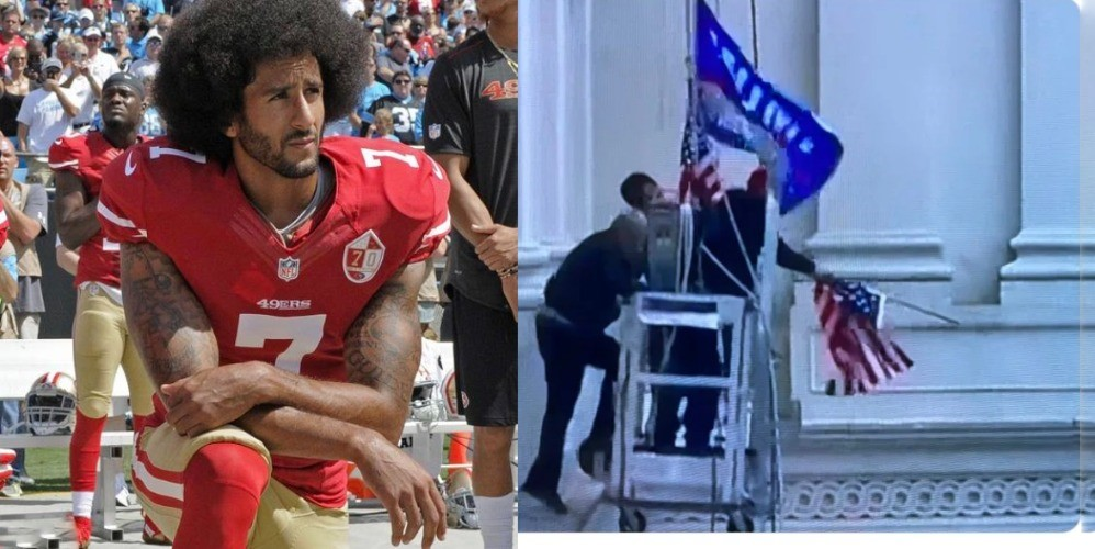 Tell me again how quietly kneeling during the anthem was  'disrespectful' to the American Flag but removing the American flag from the Capitol, dropping it on the ground then replacing it with a trump flag is 'patriotic' ?   #CapitolRiots #RemoveTrumpTODAY #FreshVoicesRise