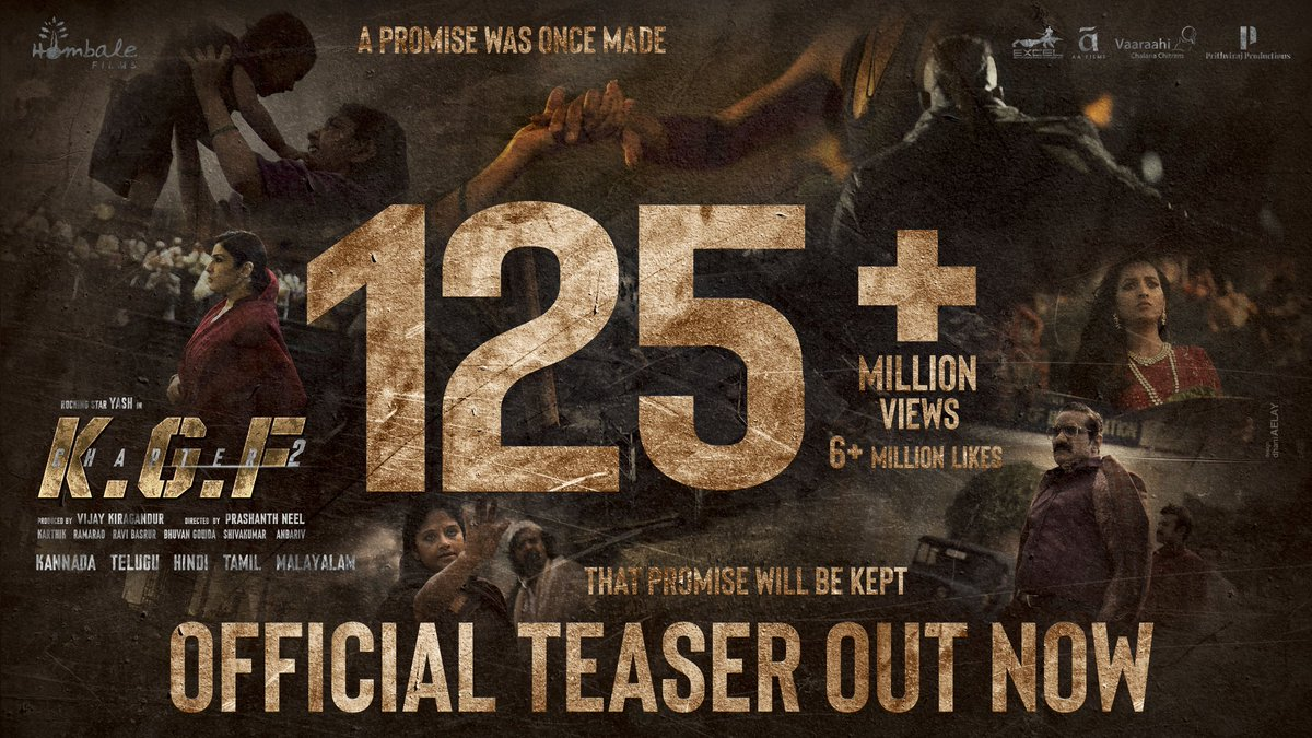 Taken the world by storm 💥  #KGFChapter2Teaser:   @VKiragandur @TheNameIsYash @prashanth_neel @hombalefilms @duttsanjay @TandonRaveena @SrinidhiShetty7 @prakashraaj @BasrurRavi @bhuvangowda84 @excelmovies @AAFilmsIndia @VaaraahiCC @PrithvirajProd