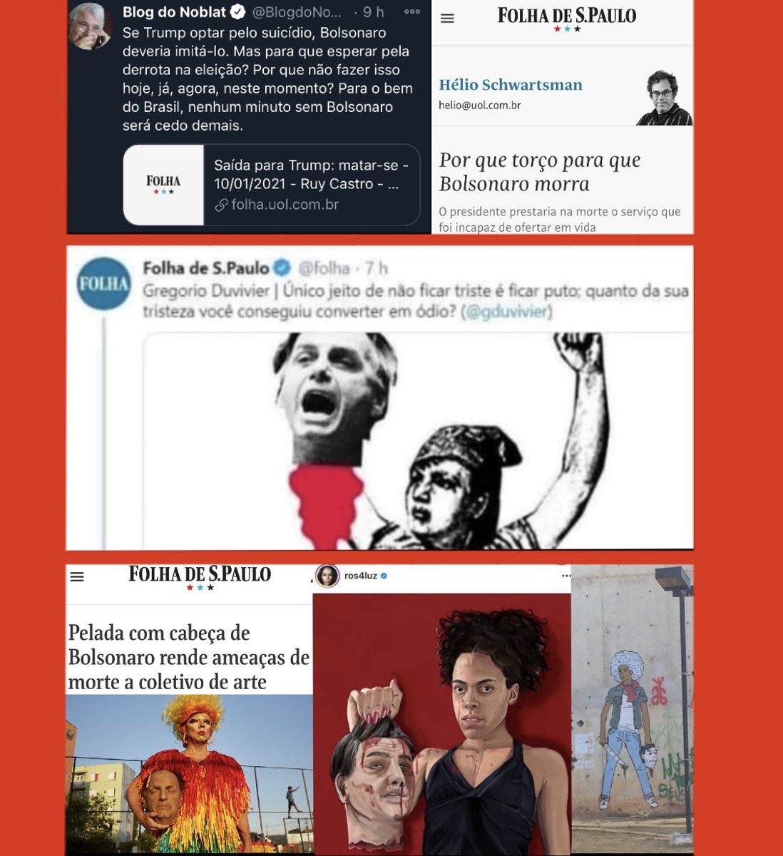 Não foi só o Noblat, é diário esse ódio  Conclusão: se Adélio tivesse assassinado @jairbolsonaro, estas pessoas poderiam até lamentar publicamente,mas comemorariam no íntimo  Se a Veja quiser que acreditemos em seu repúdio ela precisa tomar ação, pois de discurso estamos fartos