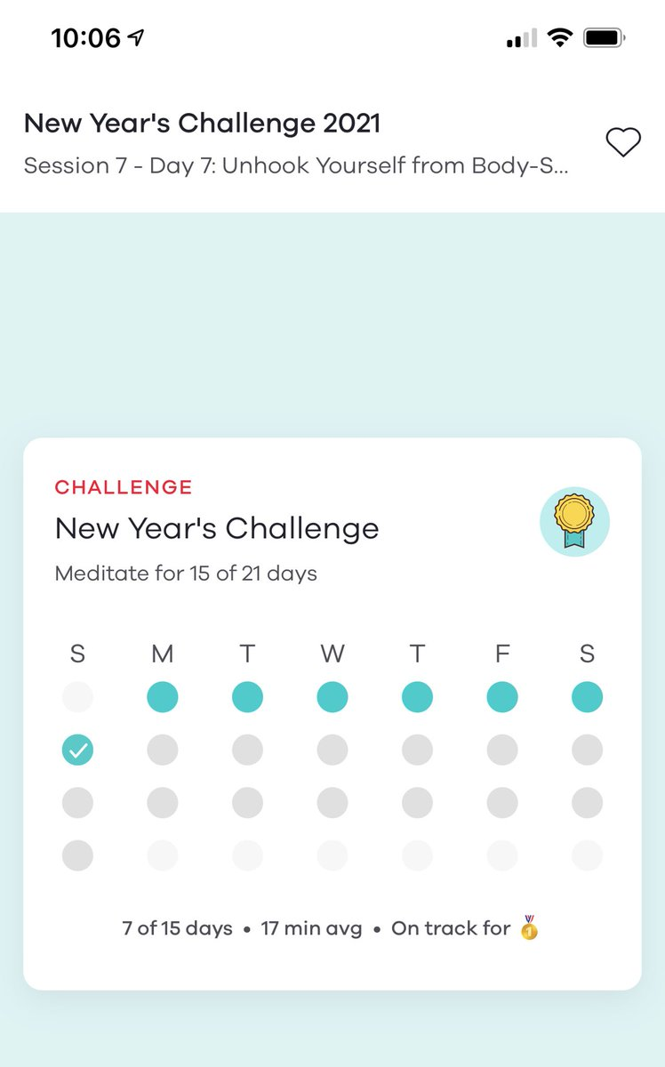 Really enjoying and appreciating the @10percent New Year Challenge. Wonderful content and guided meditation (cc @danbharris)