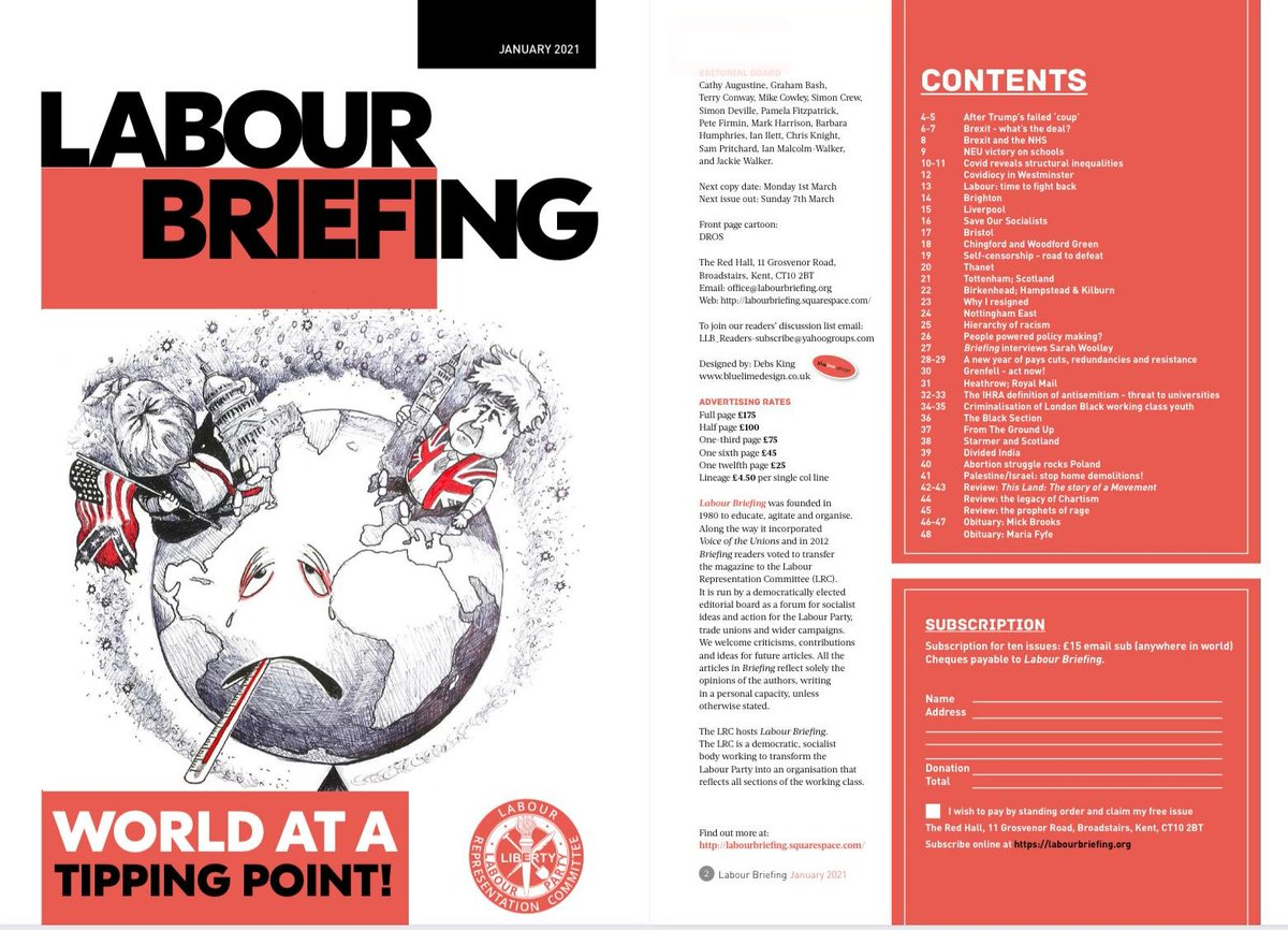A sneak peak of the new issue of @LabourBriefing, just published and landing on subscribers virtual doormats as we speak. If youre missing out, why not subscribe here? labourbriefing.org/support