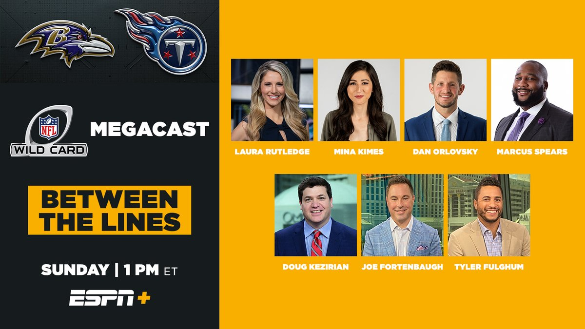 🚨NFL Wild Card Game MegaCast 🚨  Between the Lines ➡️ ESPN+  Real-time analysis & analytics w/ in-game live odds discussion in innovative format w/NFL Live & Daily Wager  🏈Laura Rutledge, Mina Kimes, Dan Orlovsky & Marcus Spears  🏈Doug Kezirian, Joe Fortenbaugh & Tyler Fulghum https://t.co/w8CMObq1pJ