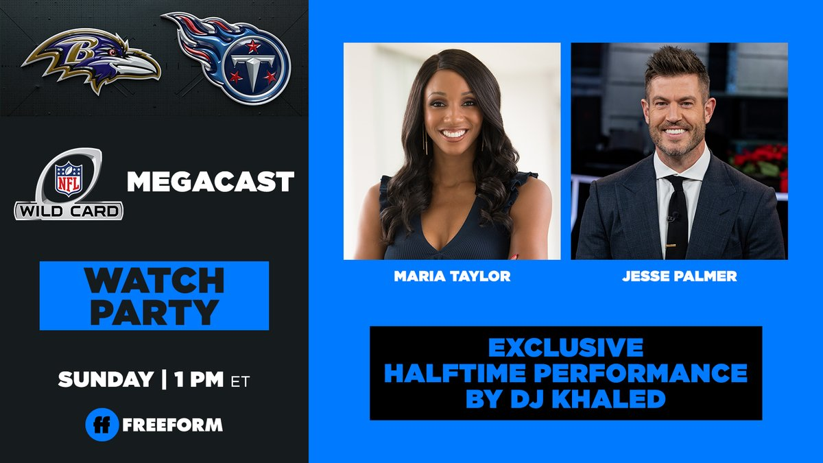🚨NFL Wild Card Game MegaCast 🚨  Watch Party 🥳🎉 ➡️ @FreeformTV   🎤Exclusive @djkhaled halftime performance🎤  @MariaTaylor and @JessePalmerTV  will be joined by a rotating array of television, music, and sports personalities & guests tied to Baltimore & Nashville